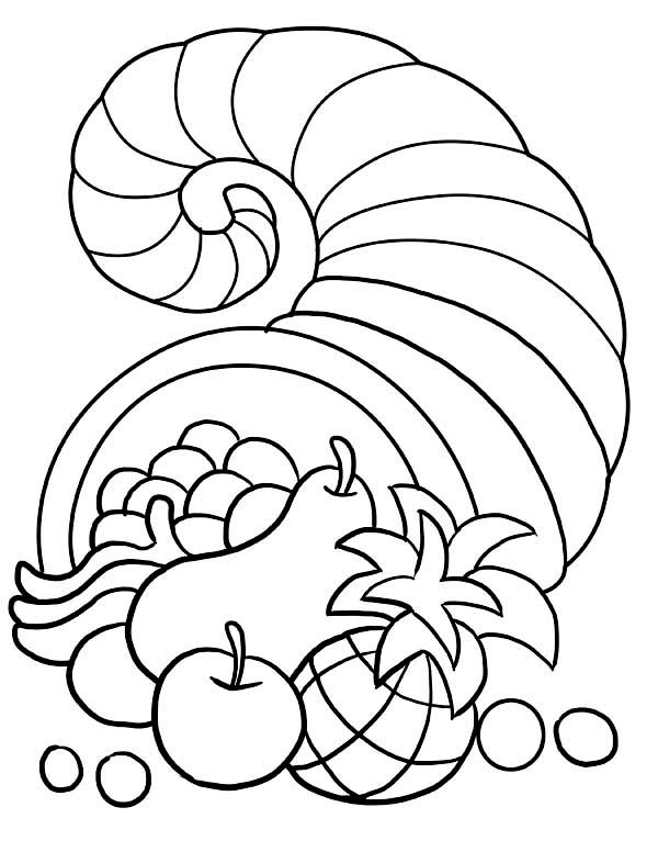 Thanksgiving Day, : Thanksgiving Day Decorations with Horn of Plenty Coloring Page