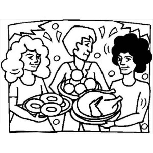 Thanksgiving Day Dinner at Our House Coloring Page