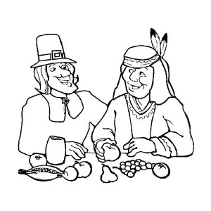 Thanksgiving Day Dinner with Native American Coloring Page