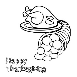 Thanksgiving Day Turkey and a Bucket of Cornucopia Coloring Page