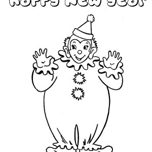 The Clown Says New Year Folks Coloring Page