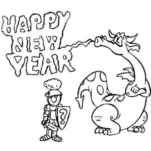 The Dragon Says Happy New Year to the Knight Coloring Page