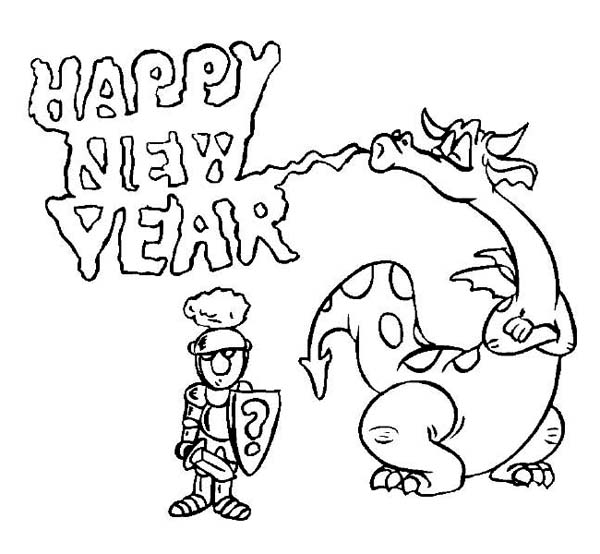 New Year The Dragon Says Happy To Knight Coloring Page