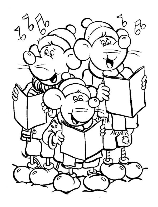 Three Little Mouse Singing Christmas Carols Coloring Page