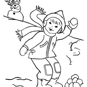 Throwing Snowball on Snowball Fight During Winter Coloring Page