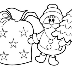 Tiny Santa Decoration for Christmas Coloring Page