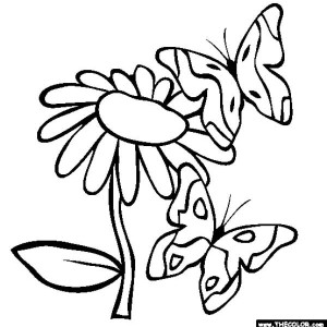 two butterflies surrounding the flowers coloring page