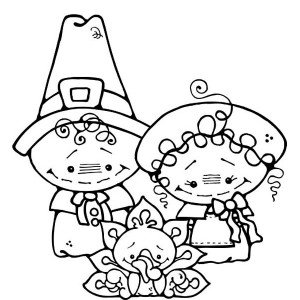 Two Cute Little Pilgrim Kids on Thanksgiving Day Coloring Page