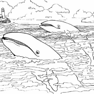 Two Giant Whale Near Lighthouse Coloring Page