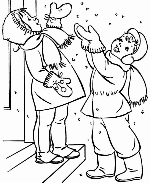 two happy kids cheering the first winter snow coloring page - Snow Coloring Pages