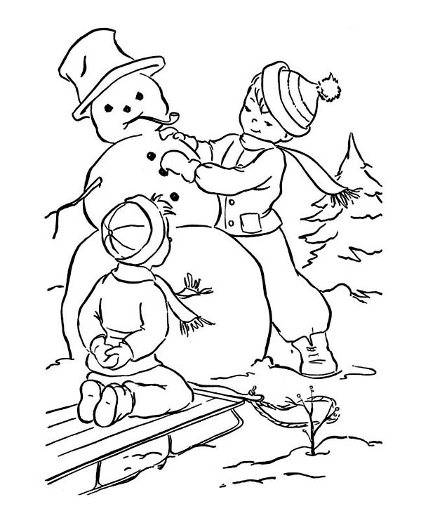 Mr Snowman On Christmas Touching A Snowflake Coloring Page: Two Little Boy Making Mr Snowman On Winter Coloring Page