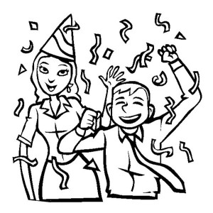 Two Office Worker on New Years Party Coloring Page