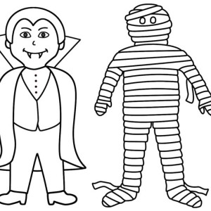 Vampire And Mummy Are Best Friend Coloring Page