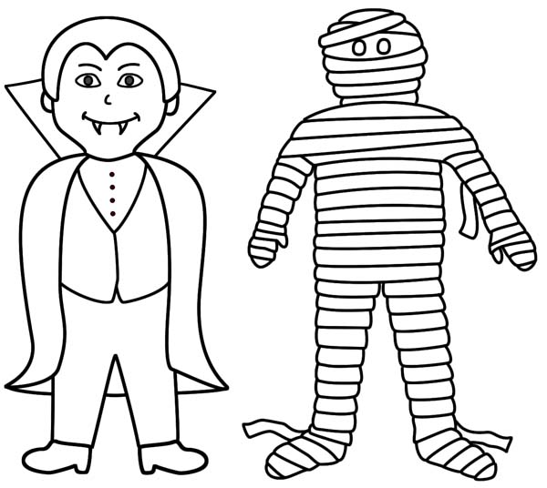 Vampire And Mummy Are Best Friend Coloring Page  Download  Print