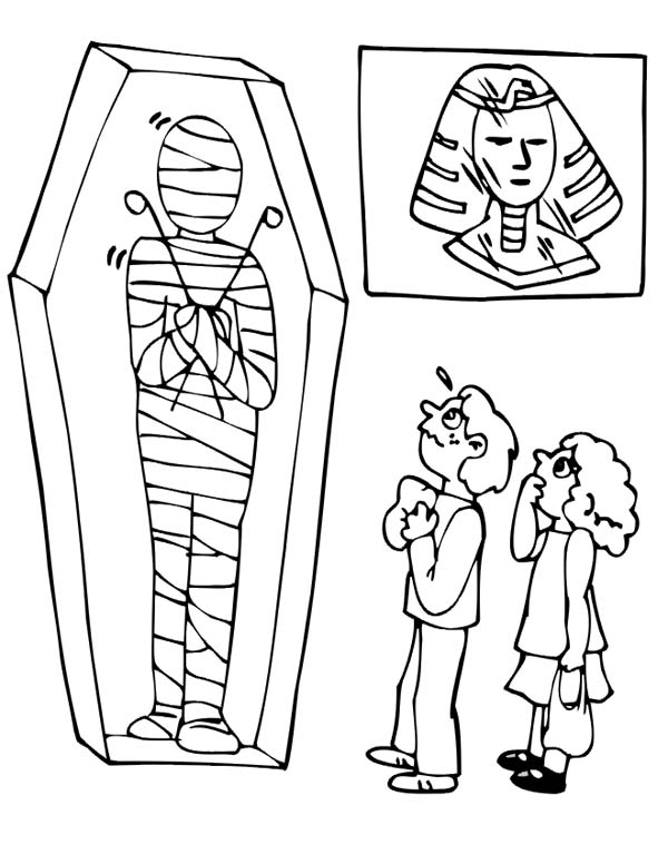 Mummy Case Coloring Pages At The Museum Coloring Pages