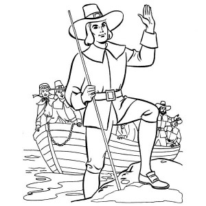 William Bradford Leader of Pilgrim Thanksgiving Day Origin Coloring Page