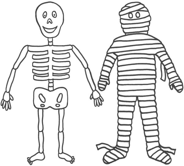 mummy and his friend mr skeleton funny coloring page - Halloween Skeleton Coloring Pages