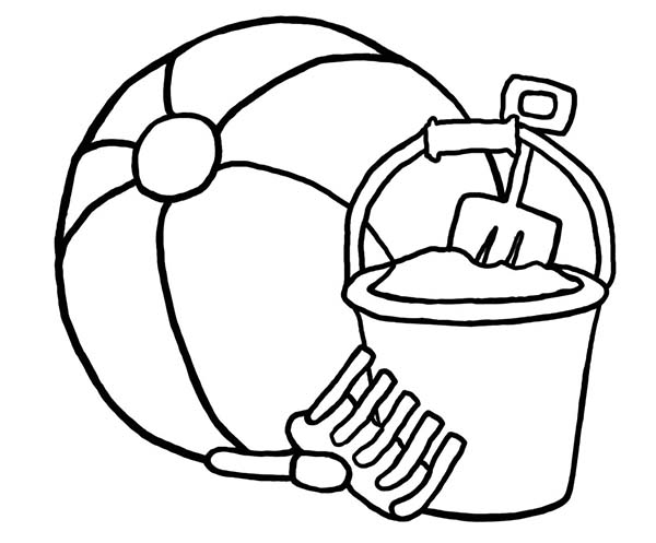 A Beach Ball And Bucket Sets Coloring Page