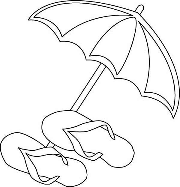 A beach umbrella and slippers coloring page