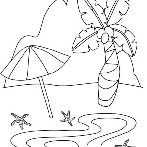 A Beautiful Tropical Sandy Beach Coloring Page
