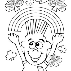 A Boy Cheering a Happy March with Rainbow and Four Leaf Clover Coloring Page