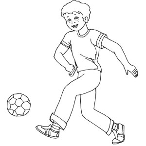 A Boy Playing Soccer in a Street Coloring Page