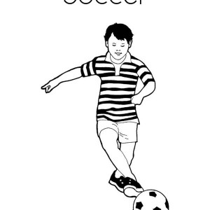 A Boy Playing Soccer in a Stripe Jersey Coloring Page