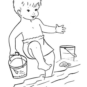 A Boy Playing on the Beach with Bucket Coloring Page