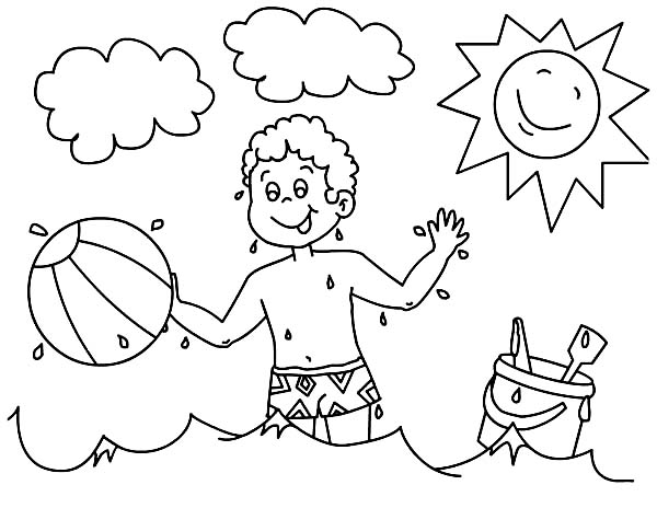 A Boy Playing With His Beach Ball Coloring Page