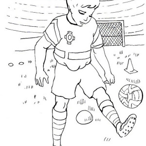 A Boy Practising His Soccer Move in the Stadium Coloring Page