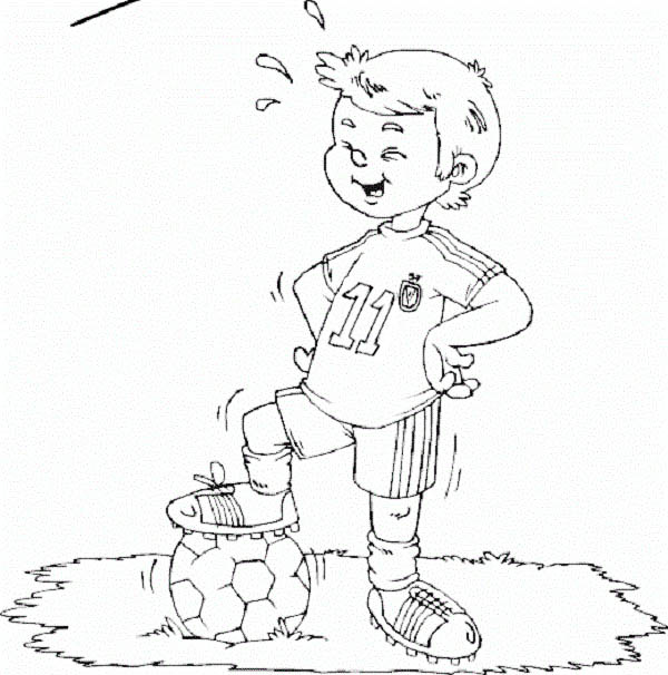 A Boy Showing of His New Soccer Jersey Coloring Page Download