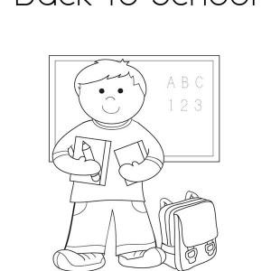 A Boy Student with All His Stuff for the First Day of School Coloring Page