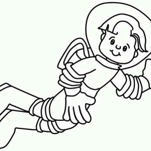 A Boy in Astronaut Suit Waiving His Hand Coloring Page