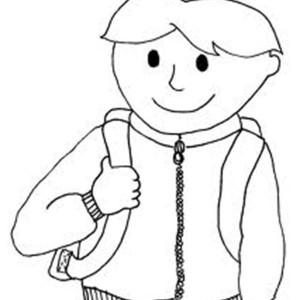 A Boy with His Backpack on First Day of School Coloring Page