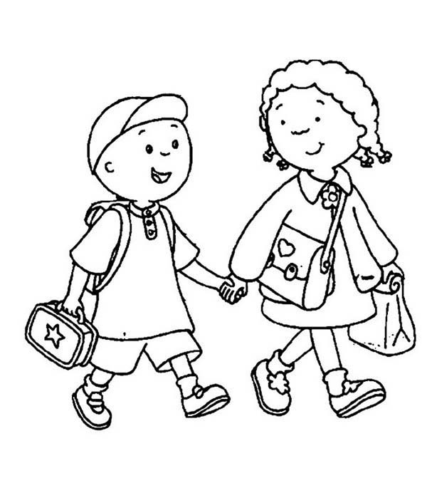 a brother and sister on their first day of school coloring page