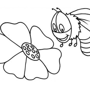 A Bumblebee Checking the Flower for Honey Coloring Page