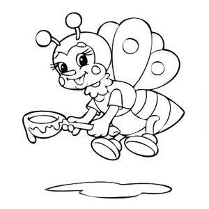 A Bumblebee With Spoon Of Honey Coloring Page