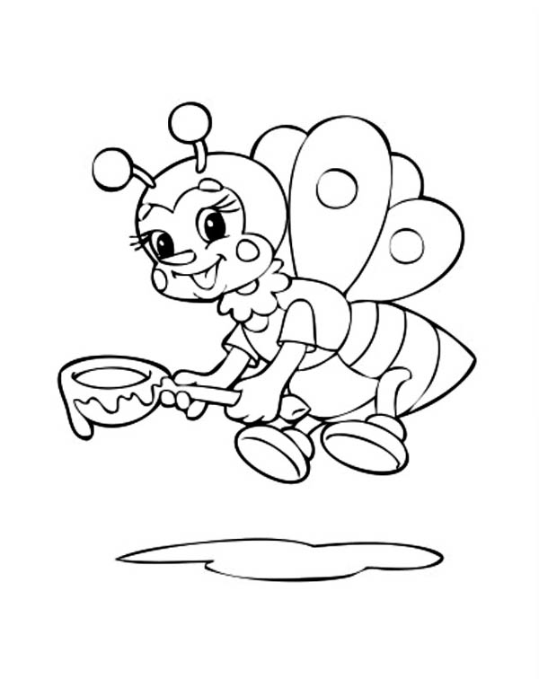 A Bumblebee With A Spoon Of Honey Coloring Page