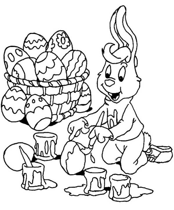 A Bunny Boy Painting Easter Eggs Happily Coloring Page - Download ...