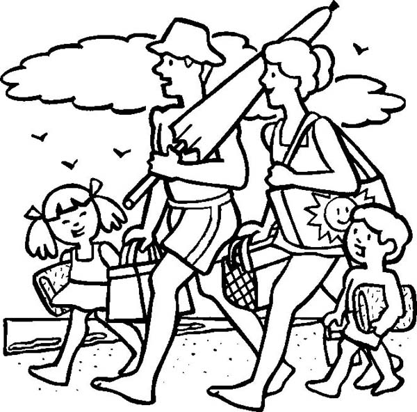 A cheerful family on their beach vacation coloring page download Beach Vacation Coloring Pages Fun Coloring Pages for Adults Going On a Trip Coloring Sheet