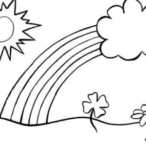 a classic kids drawing of a day with the rainbow coloring page - Drawing And Colouring For Kids