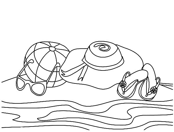 A Complete Beach Sets for a Girl Coloring Page - Download & Print ...