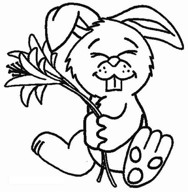 A Cute Bunny Holding a Flower Coloring Page - Download & Print ...