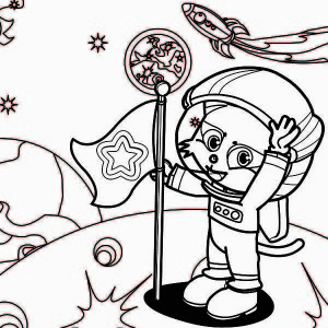 A Cute Cat Astronaut on the Moon Coloring Page