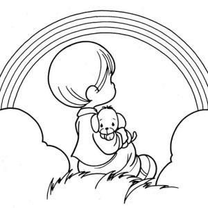 A Cute Little Boy and His Puppy Watching Over the Rainbow Coloring Page