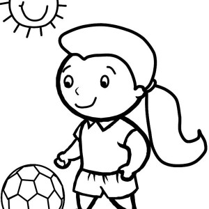 A Cute Little Girl Playing Soccer in a Sunny Day Coloring Page