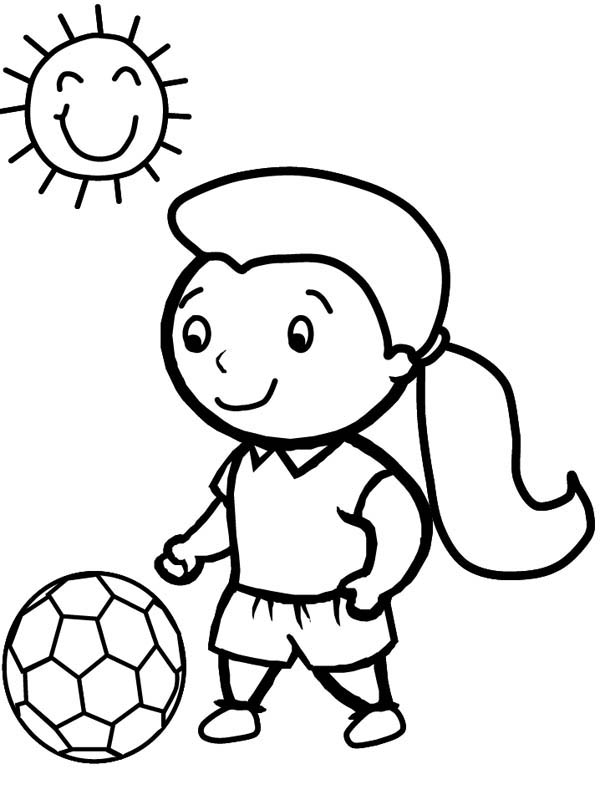 A Cute Little Girl Playing Soccer in a Sunny Day Coloring Page ...
