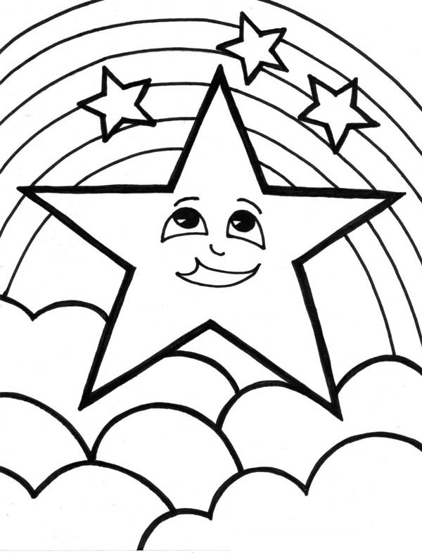 A Cute Start and the Rainbow Coloring Page Download Print Online