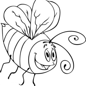 A Drawing of Cartoon Bumblebee Coloring Page