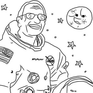 A Drawing of Notable Astronaut Neil Armstrong Coloring Page
